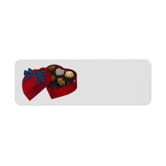 Happy Valentine's Day red heart Chocolate box Return Address Label