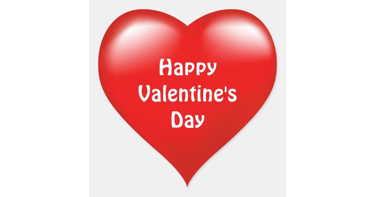 Happy Valentine S Day Red Heart Love Sticker Zazzle Com Au