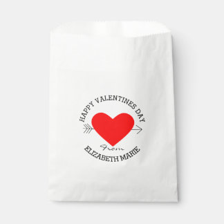 Happy Valentine's Day - Red Heart Personalized Favour Bags