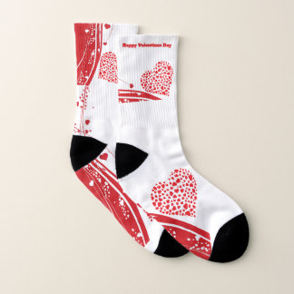 Happy Valentines Day red heart Socks