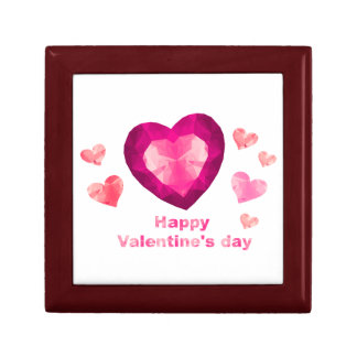 Happy Valentine's day red heart Trinket Boxes