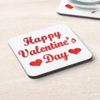Happy Valentine's Day Red Hearts Drink Coaster