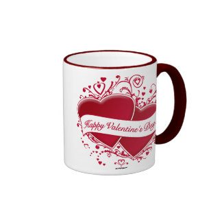 Happy Valentine's Day! Red Hearts Coffee Mugs