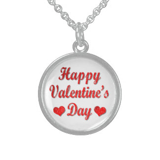 Happy Valentine's Day Red Hearts Silver Necklace
