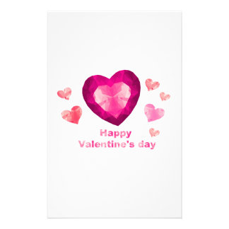 Happy Valentine's day red hearts Stationery