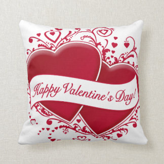 Happy Valentine's Day! Red Hearts Throw Cushions