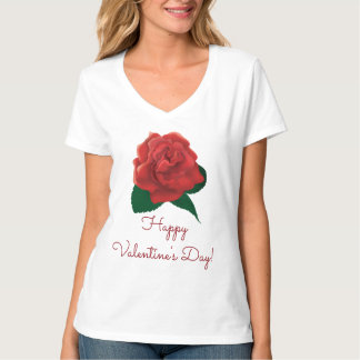 Happy valentine's day Red rose custom T-shirts