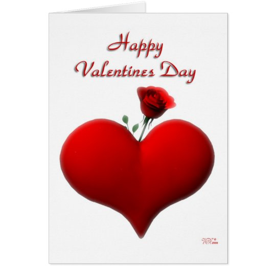 Happy Valentines Day - rose (blank) Card