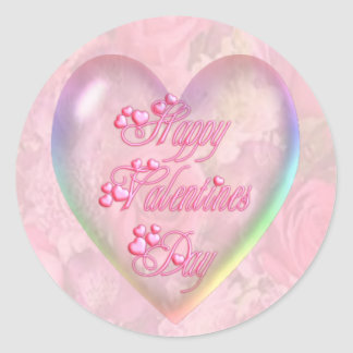 HAPPY VALENTINES DAY & ROSES by SHARON SHARPE Classic Round Sticker