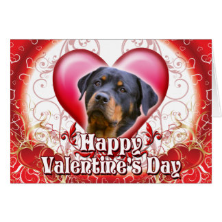 Happy Valentines Day Rottweiler Greeting Card