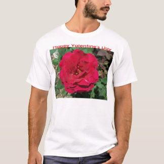 Happy Valentine's Day, Single Large Red Rose T-Shirt