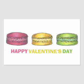 Happy Valentine's Day Sweet French Macaron Cookie Rectangular Sticker