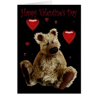 Happy Valentines Day Teddy Bear with Hearts Greeting Card
