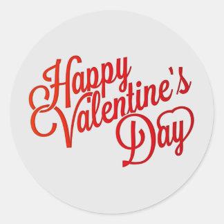 Happy Valentine's Day Text Classic Round Sticker