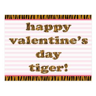 Happy Valentine's Day Tiger! Stripes & Tiger Print Postcard