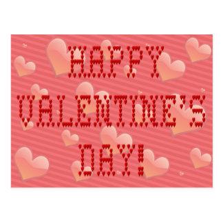 Happy Valentine's Day Tiny Heart Shaped Font Postcard