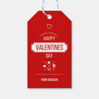 Happy Valentine's Day Valentine Symbols Gift Tags