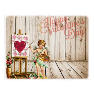 Happy Valentines Day Vintage Cherub Postcard