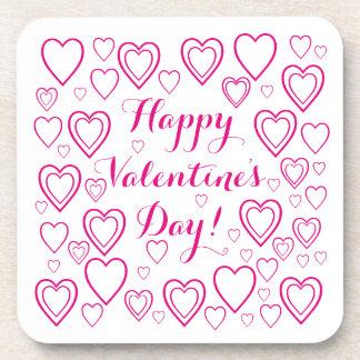 Happy Valentine's Day with Hearts v3 Coaster