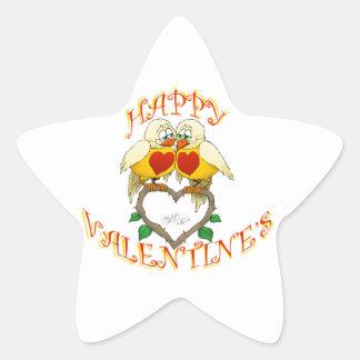 Happy valentine's, two love birds. Star sticker. Star Sticker