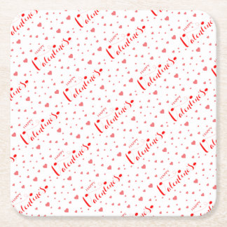 HAPPY VALENTINE's with red Hearts Square Paper Coaster