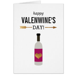 Happy Valenwine's Day with Bottle of Wine Card
