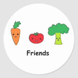 Happy Vegetable Friends Classic Round Sticker
