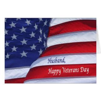 Happy Veterans Day flag Husband greeting card