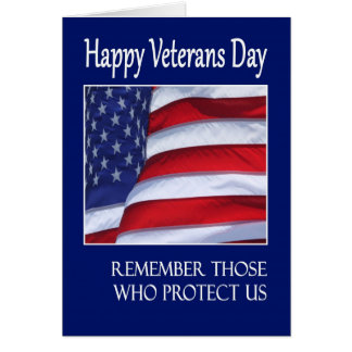 Happy Veterans Day greeting card American Flag