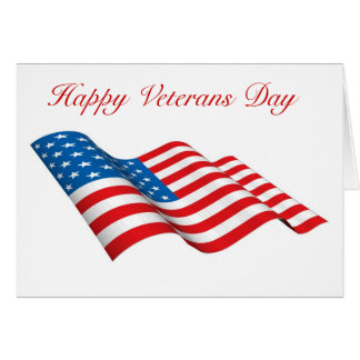 Happy Veterans Day with American flag custom text Card