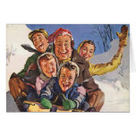 Happy Vintage Family Sledding on Christmas Day Cards