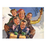 Happy Vintage Family Sledding on Christmas Day Postcard