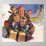 Happy Vintage Family Sledding on Christmas Day Poster
