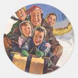 Happy Vintage Family Sledding on Christmas Day Sticker