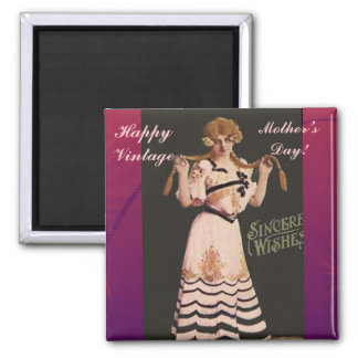 Happy Vintage Mother's Day! Square Magnet
