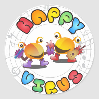 Happy Virus Product Range Round Sticker