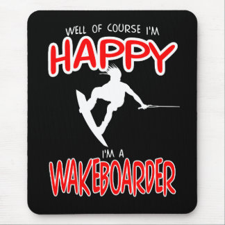 HAPPY WAKEBOARDER (white) Mouse Pad