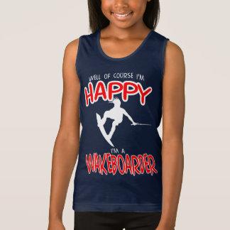 HAPPY WAKEBOARDER (white) Singlet