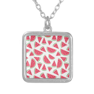 Happy Watermelon Pattern - Choose Your Background Square Pendant Necklace