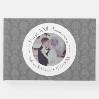 Happy Wedding Anniversary / Photo Damask Pattern Guest Book