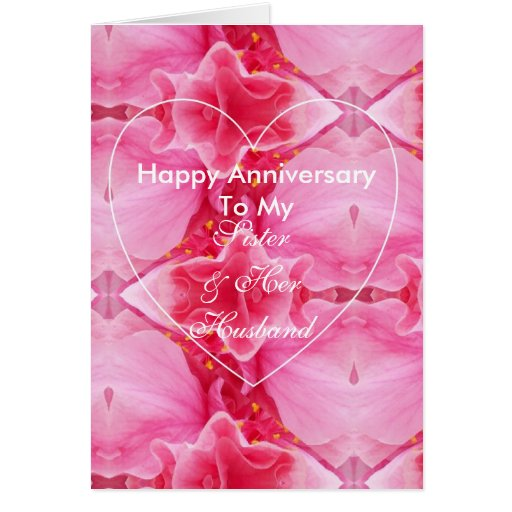 Happy wedding anniversary sister and husband greeting card