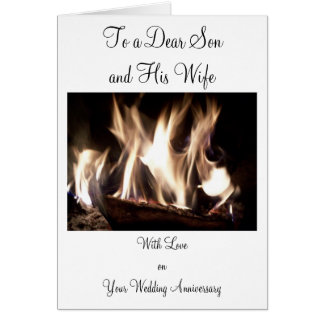 Happy Wedding Anniversary Son And Wife Fire Card