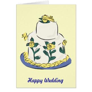 Happy wedding! Floral wedding cake Greeting Card