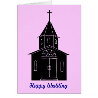 Happy wedding! Silhouette church Greeting Card