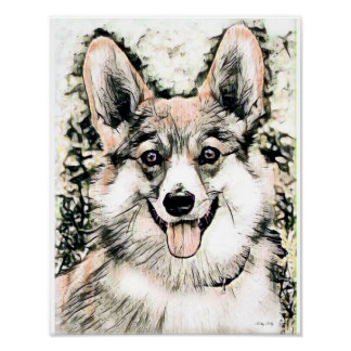 Happy Welsh Corgi Poster