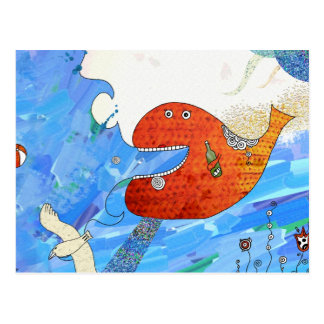 Happy whale Postcard by Krize