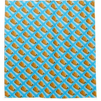 happy whales on blue pattern shower curtain