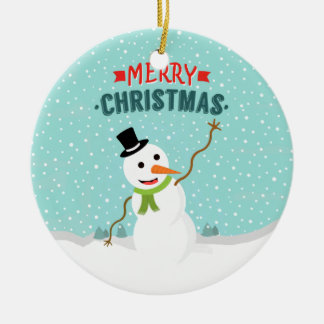 Happy Whimsical Snowman on Snowy Christmas Day Round Ceramic Decoration