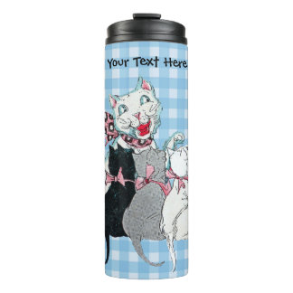 Happy White Mother Cat With three Kittens in Bows Thermal Tumbler