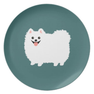 Happy White Pomeranian Plate